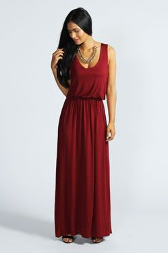 Serena Bagged Over Racer Back Maxi Dress at boohoo.com