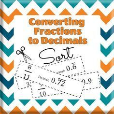 Students need to compare fractions, decimals and percents, and plot rational numbers on a number line.This all starts with converting fractions to decimals! Recognizing common fraction and decimal equivalents and understanding terminating and repeating decimals are requisite skills.In this sorting activity, students cut out 16 sorting cards.