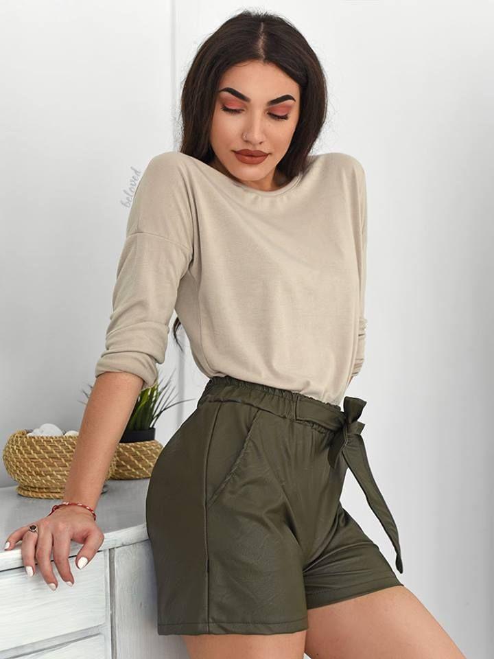 Olive Leather Shorts