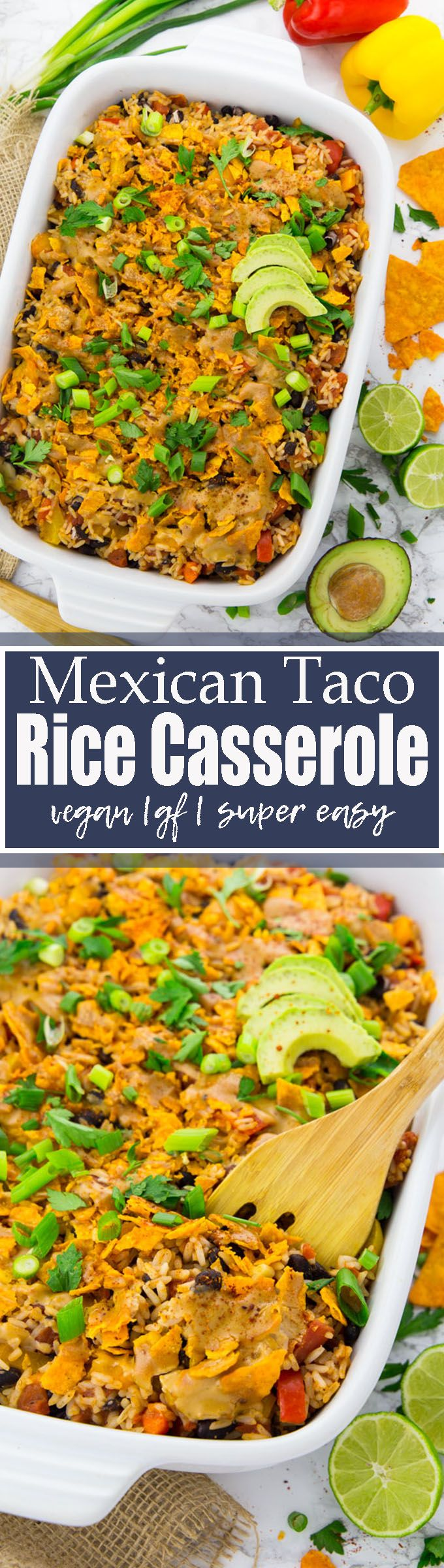 """This vegan Mexican rice casserole with tacos, bell pepper, and black beans is pure comfort food! And it's so easy to make and pretty healthy as well! Perfect for """"Taco Tuesday"""" or basically any day of the week! Find more vegetarian recipes at veganheaven.org <3"""