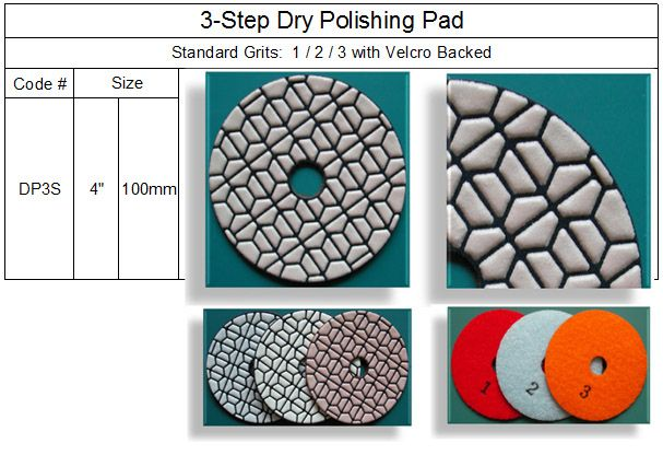 3 Step Dry Polishing Pad made by RM Tech Korea (StoneTools Korea®) provides the highest quality; world top selling more than 500 sets monthly