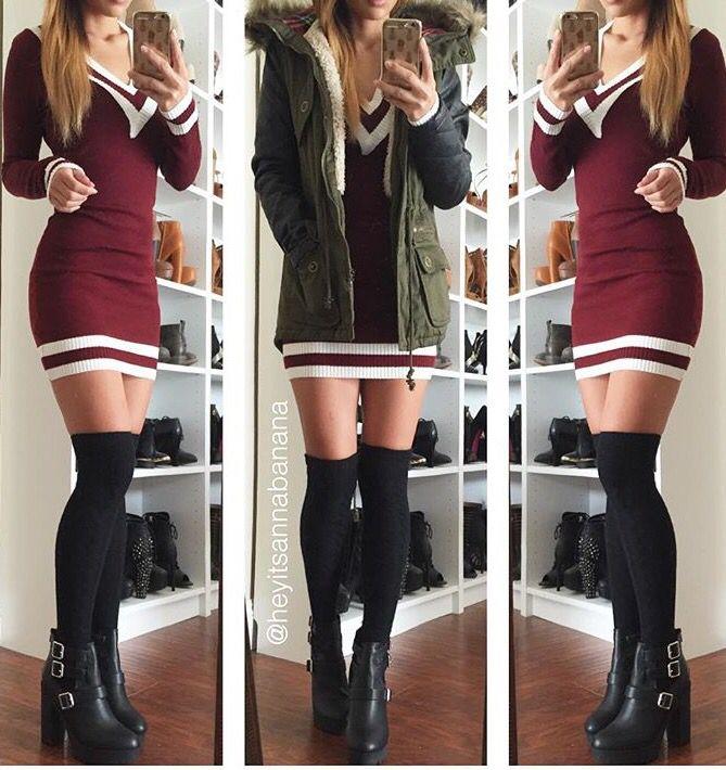 V-neckline Sweater Dress (more colors)