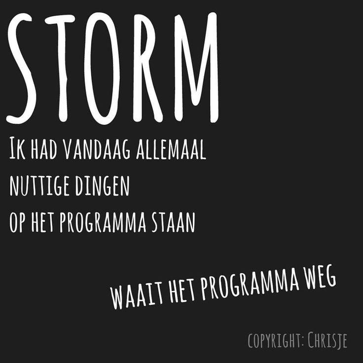 """""""Storm; ik had vandaag allemaal nuttige dingen op het programma staan, waait het programma weg."""""""
