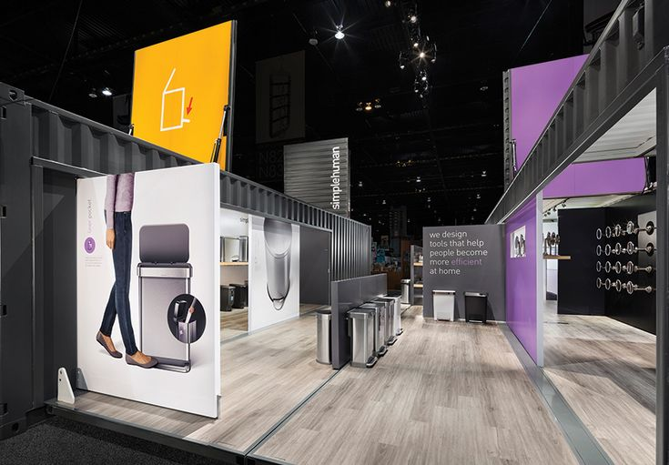 Comprising two 40-foot shipping containers, SimpleHuman LLC's exhibit was a hybrid of mechanism and minimalist design, outfitted with hydraulic controls that opened the 30,000-pound structure at the touch of a button.