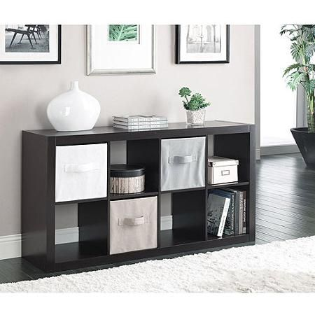 Better Homes and Gardens 8-Cube Organizer, espresso: $68 Walmart.  2 ideas for use: 1) across bottom of Suede's closet to replace dresser 2) use to create platform bed
