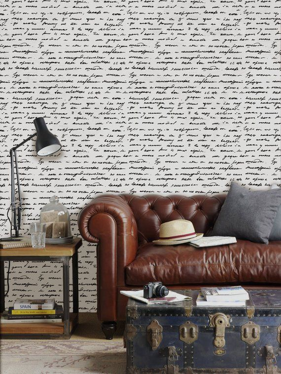 Letters Removable Wallpaper Traditional White Print Wall Mural