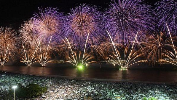 COPACABANA o maior reveillon do mundo, titulo ganho em 2012. Em Copacabana, multidão acampanha queima de fogos no maior réveillon do Brasil com 2 milhões de pessoas.  http://sao-paulo.estadao.com.br/noticias/geral,rio-ganha-titulo-de-maior-reveillon-do-mundo-imp-,817503
