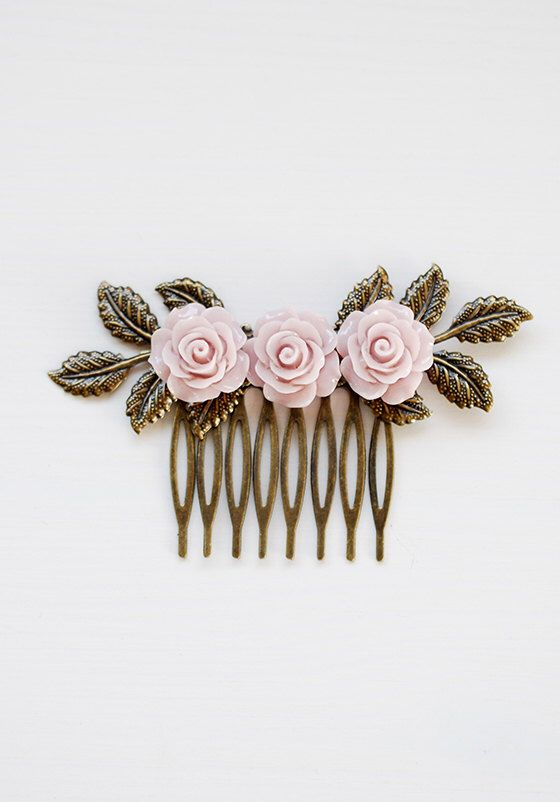 Dusty Pink Rose hair Comb, Dusky Pink Flower Leaf Branch Hair Accessory Pink Wedding Bridal Hair Comb Bridesmaids Gift Garden Wedding by LeChaim on Etsy https://www.etsy.com/listing/232888439/dusty-pink-rose-hair-comb-dusky-pink