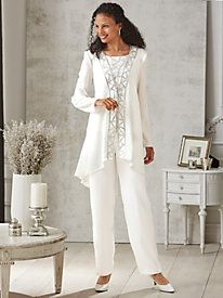 Embellished 3-Pc. Pants Set