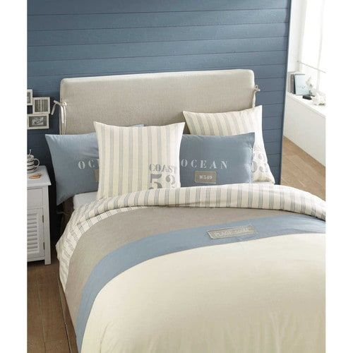 Océan - Parure de lit 220 x 240 cm en coton blanche OCÉAN
