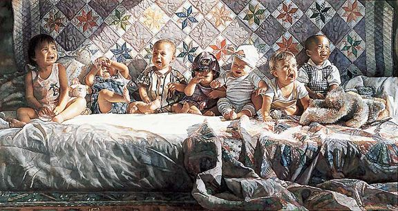 """All Gone Awry"" by Steve Hanks  ""Originally I planned to do 1 painting w/ 7 babies, some happy, some crying... But then each parent let me know in no uncertain terms that they didn't want me to paint their baby as the crying one. I understood because my daughter was in this painting too.  So I divided it up into 2 paintings. 'All In A Row' is the painting that all the parents wanted to see. 'All Gone Awry' allowed me to paint the reality. My daughter is the 2nd from the right."" --Steve Hanks"