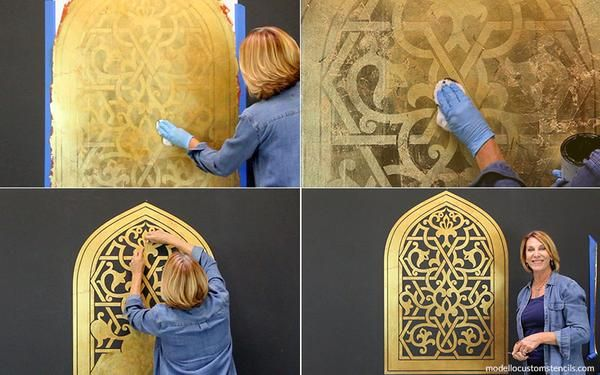 Use wax to seal and protect a gilded stencil pattern created with Modello custom stencils