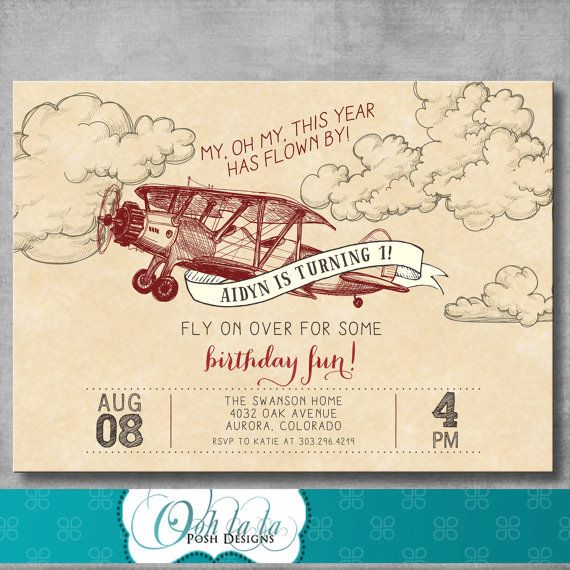 Vintage Airplane Invitation First Birthday by OohlalaPoshDesigns