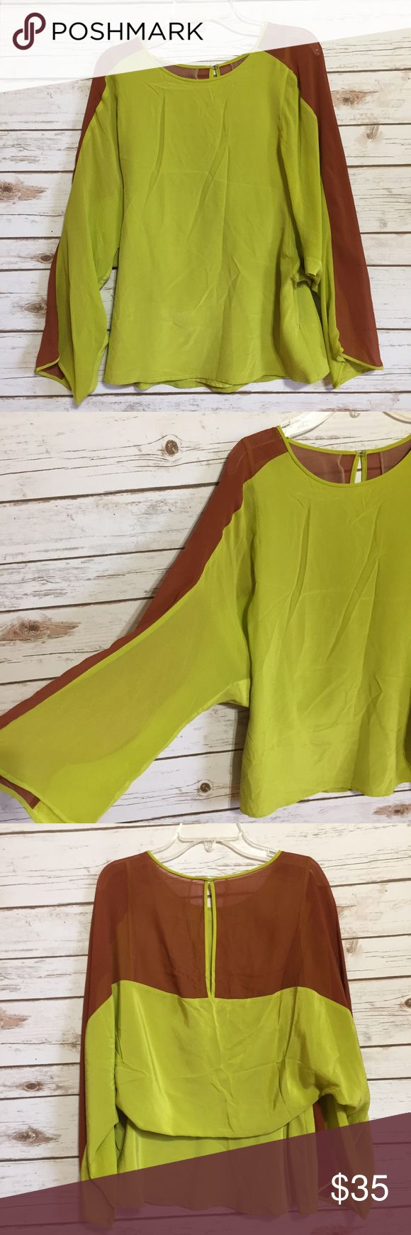 💜BCBG Maxazria Runway silk color block blouse top Size XS. Chartreuse & copper. Dolman sleeves. Keyhole opening in back. 100% silk. EUC  💟Fast 1-2 day shipping 💟Reasonable offers accepted 💟Purchase 3 or more items & get a special bundle rate!  💟Smoke-free home BCBGMaxAzria Tops Blouses