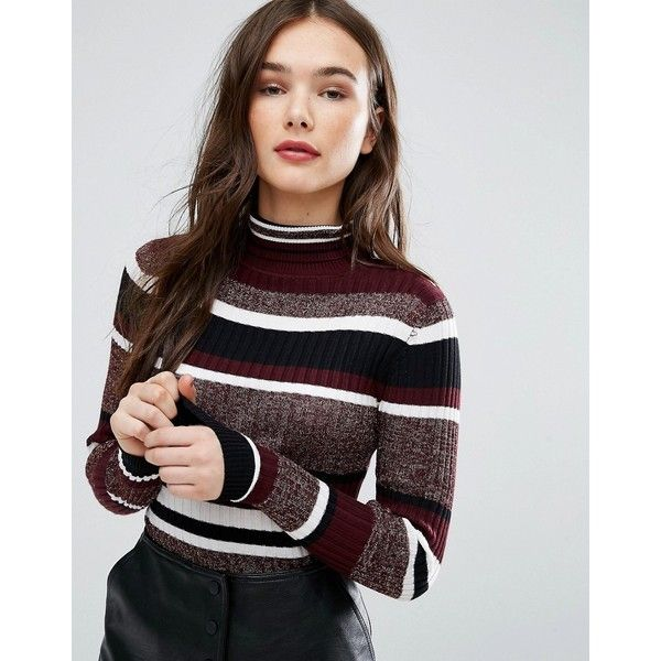 Brave Soul Wide Stripe Roll Neck Jumper ($22) ❤ liked on Polyvore featuring tops, sweaters, black, metallic sweater, lightweight sweaters, roll neck top, rollneck sweaters and roll neck sweater