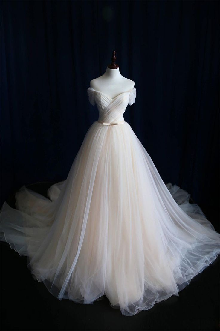 light champagne tulle long prom dress, wedding dress, Customized service and Rush order are available