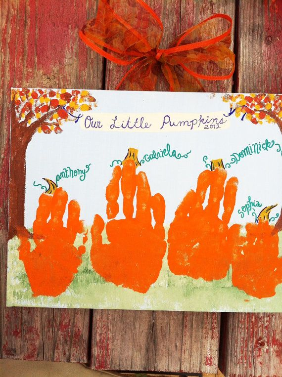 Pumpkin Handprint Kid's Craft Kit 11x14 by GiftsbyGaby on Etsy