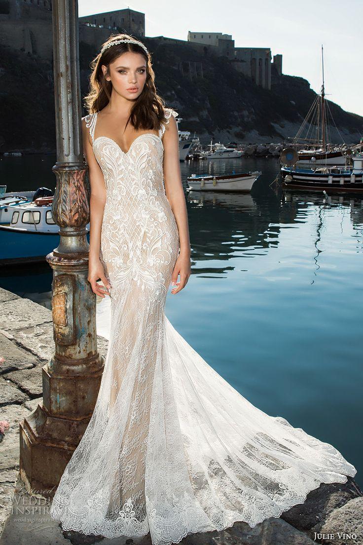 julie vino fall 2017 bridal cap sleeves sweetheart neckline full embellishment elegant fit and flare wedding dress low back chapel train (1210) mv