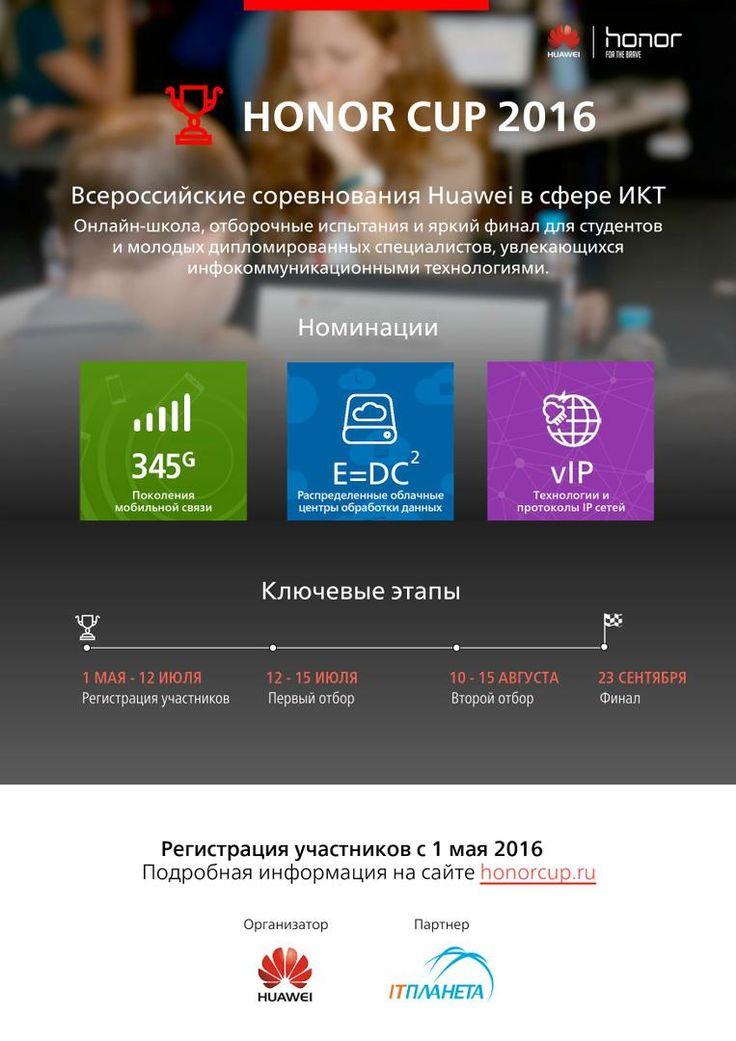 Huawei начинает соревнования в сфере ИКТ Honor Cup 2016  В мае 2016 года стартовали Всероссийские соревнования в сфере ИКТ от компании Huawei - Honor Cup 2016. Второй год подряд молодые таланты будут проверять свои знания в сфере информационно-коммуникационных технологий в трех номинациях:    345G- Поколения мобильной связи   E=DC2- Распределенные облачные центры обработки данных   vIP - Технологии и протоколы IP сетей.  Участниками Honor Cup 2016 могут стать студенты учреждений…
