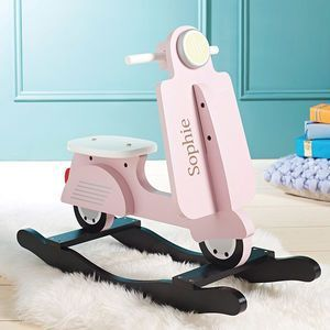Personalised Rocking Scooter Toy Pink. Discover thoughtful, cute and wonderfully unique gifts for children this Christmas. You won't be short of ideas.