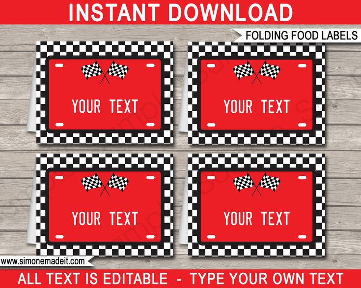 Race Car Party Food Labels | Food Buffet Tags | Place Cards | Birthday Party | Editable DIY Template | $3.00 INSTANT DOWNLOAD via SIMONEmadeit.com