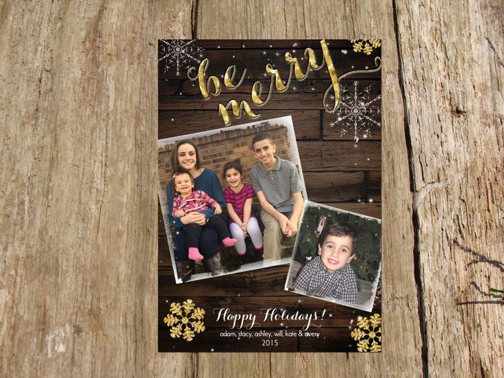 Christmas Holiday Rustic 2 Photo Greeting Card, Be Merry Gold Sparkle by RSVPinvitationsbyme on Etsy