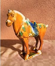Vintage Chinese Pottery Horse ~ Tang Sancai Glazed Figurine (Stamped)