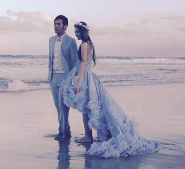 Jay Chou and Hannah Quinlivan's wedding ! She's wearing a wedding dress by #MickaelD with #Solstiss Lace.