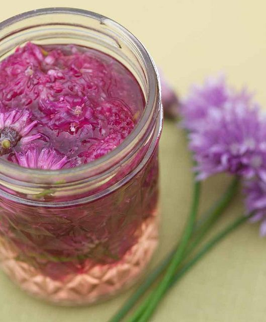 Chive Blossom Vinegar #recipe from Easy Growing by Gayla Trail