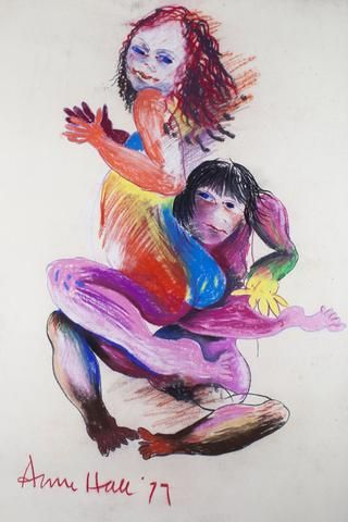 Anne Marie Hall 'Dancing Lovers' - Pastel on paper – Angela Tandori Fine Art