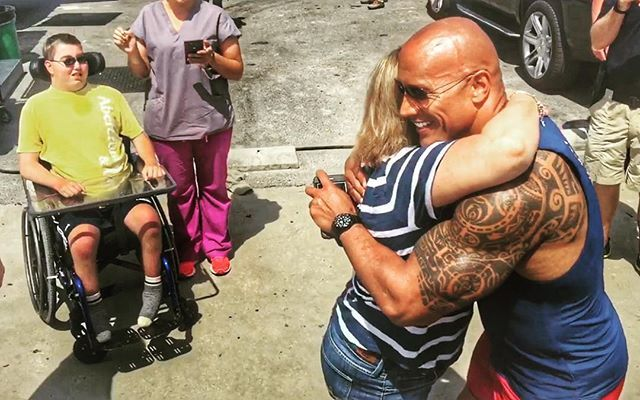 Pin for Later: 21 Times Dwayne Johnson Proved His Heart Was Actually Very Unrock-Like  He took time away from his busy schedule to meet with a young boy with special needs while shooting scenes for Baywatch in late April.