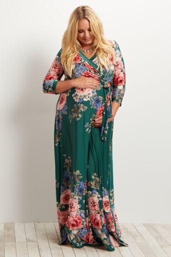 Green Floral Sash Tie Plus Size Maternity/Nursing Maxi Dress