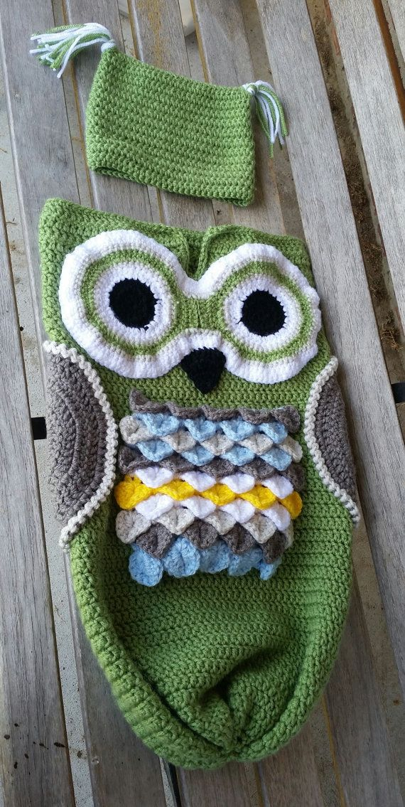 Owl Cocoon Baby Set Owl Cocoon and Hat Owl by TreasuresByNeissa