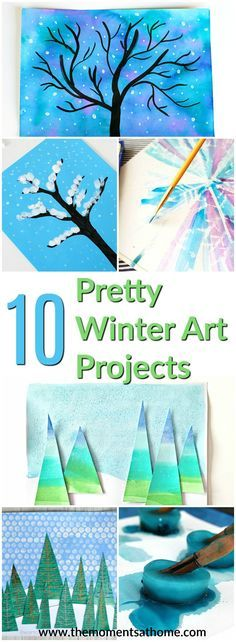 10 pretty winter art projects. A great list of fun winter themed art for kids and their parents. #winterart #winteractivities