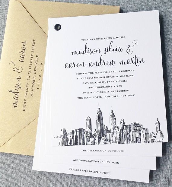 Madison Booklet New York Skyline Wedding Invitation with Black Sketch Illustration and Metallic Gold or Silver Envelopes. All cities available, including Boston, Chicago, Dallas, Los Angeles, New York and San Francisco.