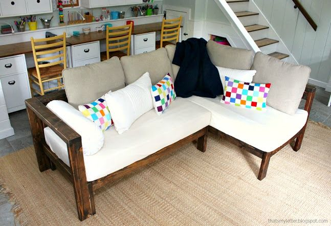 Kids Couch - 2x4 DIY Sectional with Crib Mattress Cushions