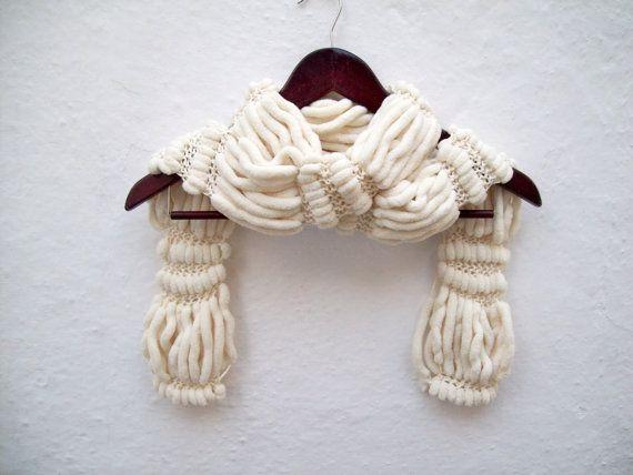 Hand knitting Long Scarf Mulberry Scarf Brown Pompom by scarfnurlu