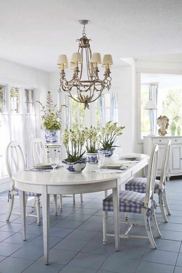 White and blue in the dinning room Creative Home Idea . Com