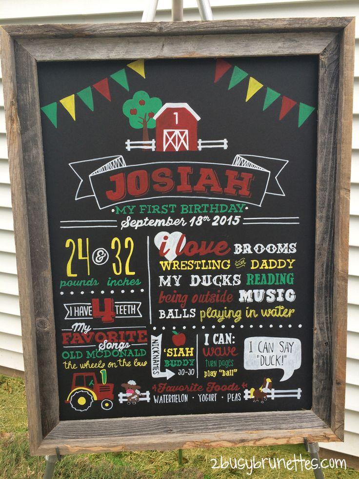 Farm First Birthday Chalkboard Sign