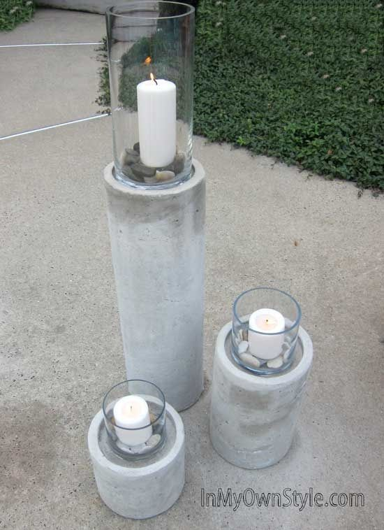 Why pay big bucks when you can make your own knock-off of a Restoration Hardware concrete fire column for about $20. Full step by step tutorial and photos. | InMyOwnStyle.com