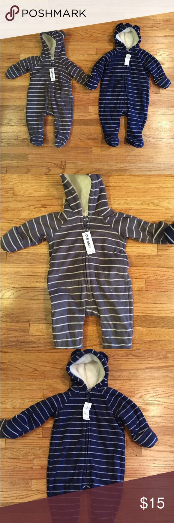Old Navy fleece bunting suits NWT Two baby buntings in microfleece to keep your little one warm! Blue is size 3-6 months, gray is 0-3 months. $15 each or make me an offer for both. Old Navy Jackets & Coats