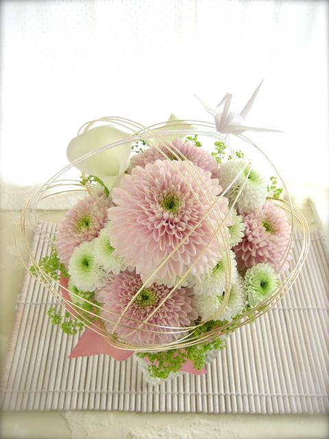 white pink bouquet for kimono