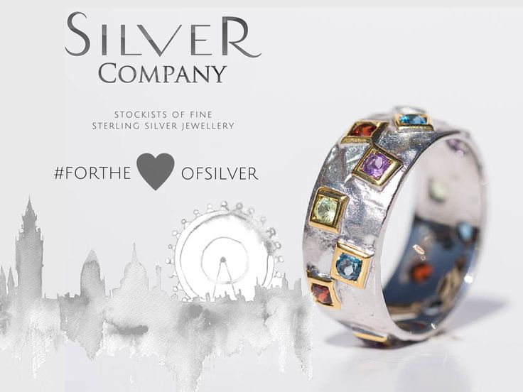 Gorgeous multi coloured, sterling silver and yellow silver ring. Silver Company- Stockists of fine sterling silver jewellery. <3 <3 #fortheloveofsilver