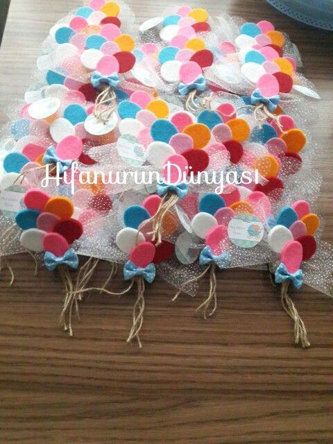 Keçe balon demeti/ömer bebek/keçe balon magnet