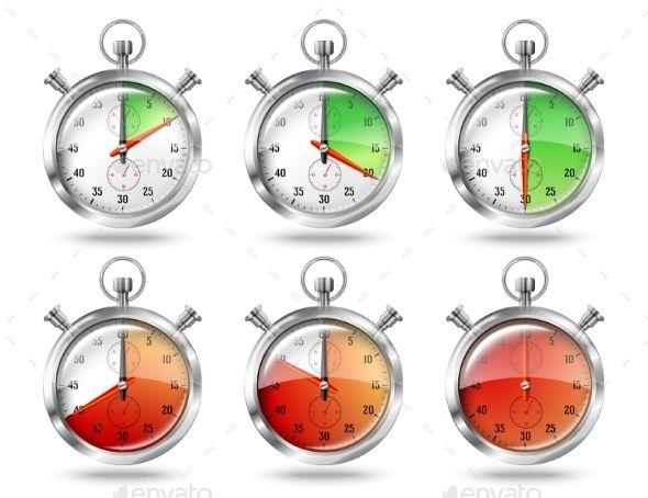 Set of Silver Bright Stopwatch Clock Intervals