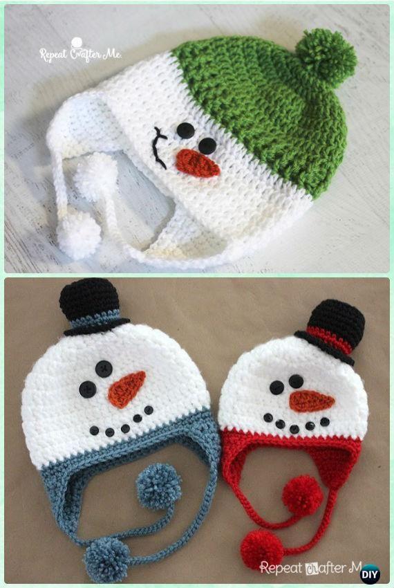 Crochet Snowman Earflap Hat Free Pattern Instructions-DIY Crochet Ear Flap Hat Free Patterns