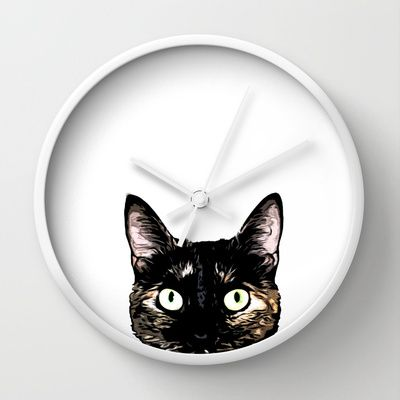 Peeking Cat Wall Clock by Nicklas Gustafsson - $30.00