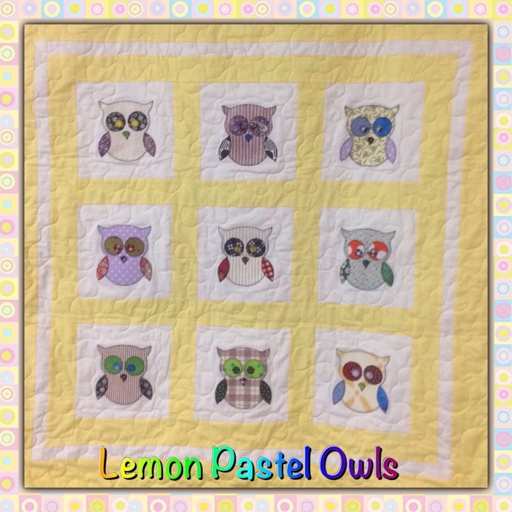 """You might think I'm going crazy and posting the same quilt - I made 2 lemon appliqué nine quilts - this one has lighter pastel owls -ready to go 38""""x38"""" great new born/cot/floor mat or car quilt. Handmade and original for $80 also machine washable. Wonderful present for the mum to be not knowing if they are having a boy or girl. #eumundisquaremarkets #iloveeumundimarkets #handmadequilts #foodnetcover #visitnoosa #brightquilt #jellyrolls #sunshinecoast #handmade #handmadeonsunshinecoast…"""
