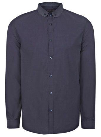 Navy Slim Fit Contrast Curve Collar Shirt
