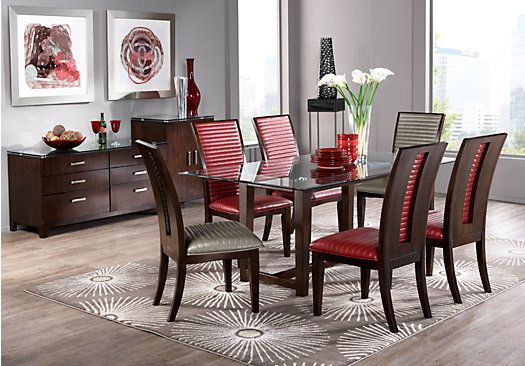 shop for a district row red 5 pc dining room at rooms to on rooms to go dining room furniture id=49144